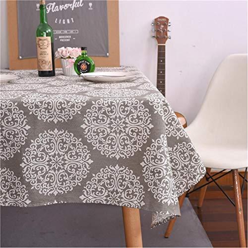 zhaowo Mantel de Flores Gris Manteles de Lino de algodón Mantel Mesa Nevera Horno de microondas Cubierta de Mesa de Comedor Mesa de Centro