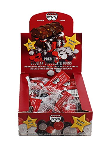 Hanukkah Tri Color Foil Wrap Non Dairy Chocolate Gelt Coins Nut Free / 24 Sacks