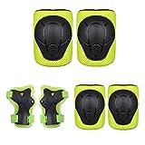Kaiyei Niños Protecciones Skateboard 6 Piezas Conjuntos, Rodilleras & Muñequera & Coderas, Proteccion Kit para Patines Ciclismo Bici Skateboard Skate Scooter MTB Verde S