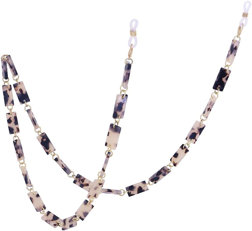 DIAOD Leopard Resin Hexagon Glasses Chain Women Reading Glasses Hanging Neck Chain Lanyard Strap Necklace Jewelry (Color : F)