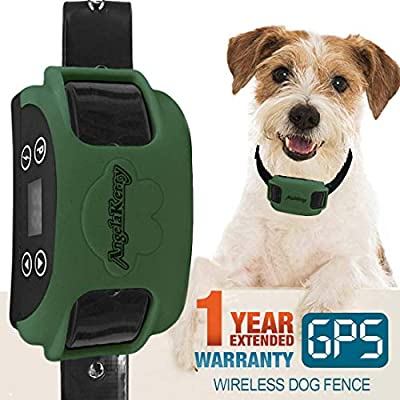 AngelaKerry Wireless Dog Fence System with GPS, Outdoor Pet Containment System Rechargeable Waterproof Collar 850YD Remote for 15lbs-120lbs Dogs (Olive Green, 1pc GPS Receiver by 1 Dog)