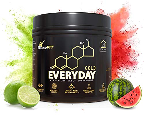 Everyday Gold All-in-one Supplement Powder | Watermelon Lime | Immune Boost Multivitamin | Preworkout | Electrolytes | Natural Testosterone Booster | Nootropics | Keto-Friendly | Vegan Certified