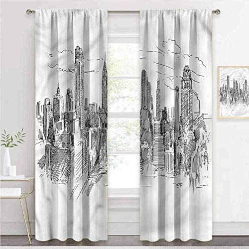 painting-home Blackout Window Curtains New York, Sketchy NYC Cityscape Thermal Insulated Blackout Curtains Help Improve Your Sleep W55 x L39 Inch