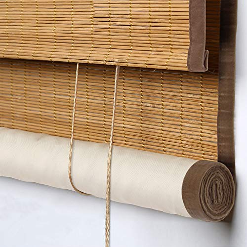 Blackout Bamboo Window Shades Blinds, Natural Wood Roller Shades With Fabric Lining, Room Dakening Roll Up Bamboo Blinds 6 Inches High Valance, Sun Shades Blinds for Windows,Patio,Doors,Porch, Color 2