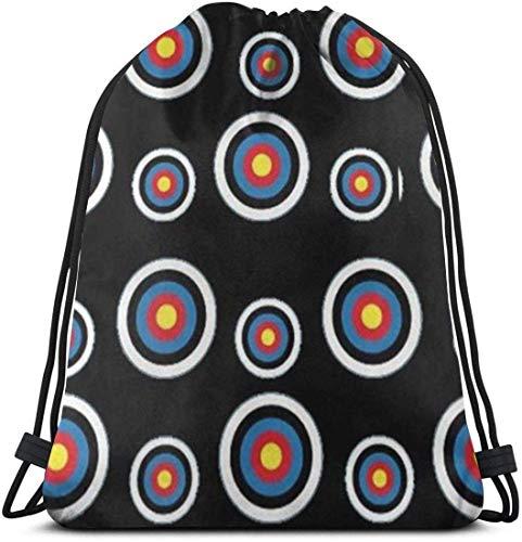 LoveBiuBiu Archery Target Colorado Circular 3D Print Drawstring Backpack Rucksack Shoulder Bags Gym Bag for Adult 16.9'X14'