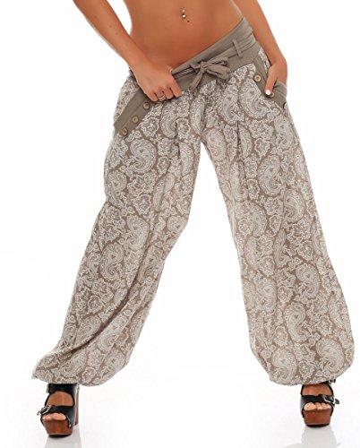 Malito Damen Pumphose mit Orient Print | leichte Stoffhose | Freizeithose für den Strand | Haremshose - luftig 3488 (Fango)