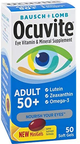 Ocuvite Eye Vitamin & Mineral Supplement, Contains Zinc, Vitamins C, E, Omega 3, Lutein, & Zeaxanthin, 90 Softgels