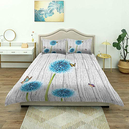 Rorun Bettbezug, rustikale weiß grau Holz Scheune Wand blaugrün blau Löwenzahn Blume Schmetterlinge Vintage Holzbrett Prin, Luxus Mikrofaser Bettwäsche-Set, bequem leicht