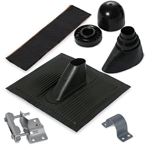 Satix Dachmontage Set mit Alu-Dachziegel für 50 mm Sat-Antennen-Mast schwarz
