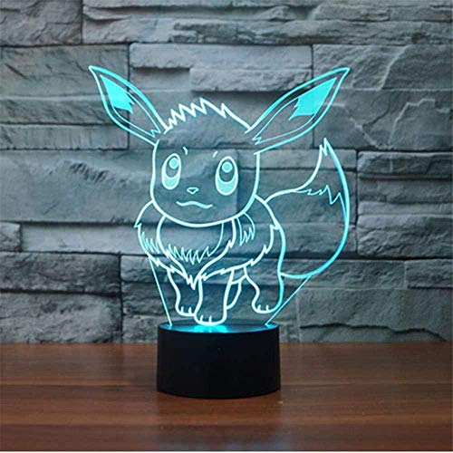 Lámparas de ilusión óptica LED 3D Pokemon Eevee Baby Night Light Control remoto acrílico plano y base ABS y cable USB juguete para fans de anime