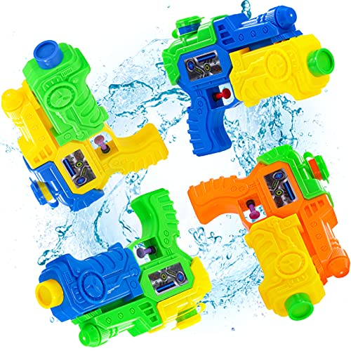 Lucky Doug 4 PCS Water Squirt Guns for Kids Toddlers, 8 Inch Water Gun Pistols Blaster Summer Toy Easy to Catch for Swimming Pool Party Outdoor Beach Sand Water Fighting