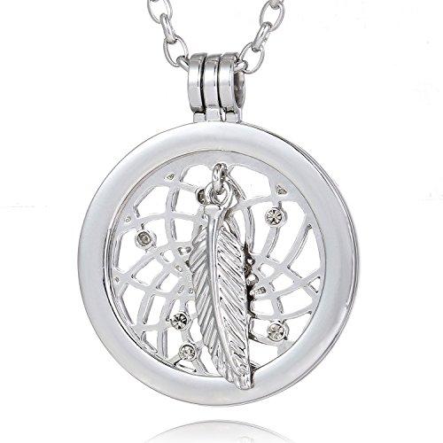 Morella Damen Halskette 70 cm Edelstahl und Anhänger mit Coin Traumfänger Silber 33 mm im Schmuckbeutel