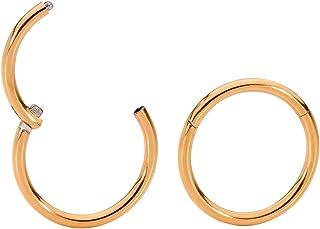 365 Sleepers 1 Pair Titanium 18G (Thin) Hinged Segment Ring Hoop Sleeper Earrings Body Piercing 5mm / 6mm / 7mm / 8mm / 9m...