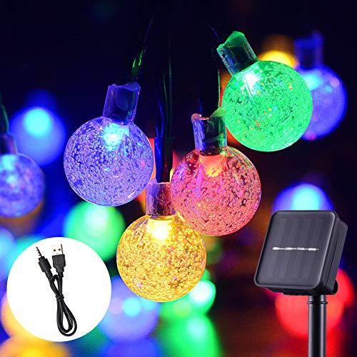 Solare Gartenbeleuchtung, wasserdicht, solarbetrieben und wiederaufladbar Festival Dekorative String Lichter mit 30 LED 20Ft Kristallkugeln für drinnen und draußen (Mehrfarbig)