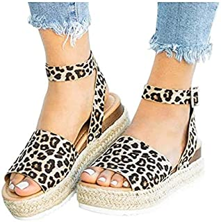 Ladies 2021 New Flat Heel Comfy Sandals, Women's Summer Open Toe Ankle Strap Sandals Platform Wedge Shoes, Beach Casual Wedge Sandals Shallow Fashion Sandals - US Size 4.5-11