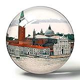 Hqiyaols Souvenir Italia Venecia 3D Imán de Nevera Colección de Recuerdos Viaje Regalo Círculo Cristal Imanes de Nevera