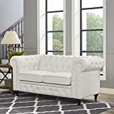 Naomi Home Emery Chesterfield Love Seat with Rolled Arms, Tufted Cushions White