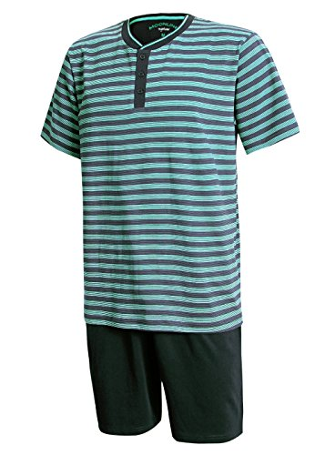 Schlafanzug Herren kurz Herren Pyjama kurz Herren Shorty Schlafanzug aus 100% Baumwolle (XL/54-56, Oberteil blau gestreift/Hose dunkelblau)