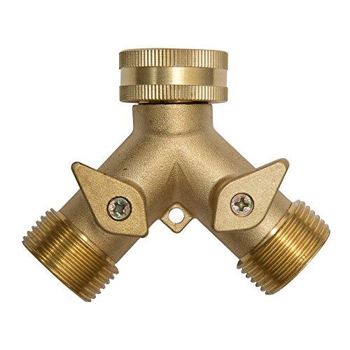 2-Wege Y-Verteiler Ventil Wasserverteiler 6x7,5cm für Wasserhahn je 3/4 Zoll Gewinde Messing getrennt absperrbar für Anschluss von zwei Geräten Y-Anschluss Gartenschlauch Waschmaschine