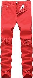 pantalones, rotos, vaqueros, estrechos, gastados, comodos, economicos, baratos, marca, Todo de Rojo