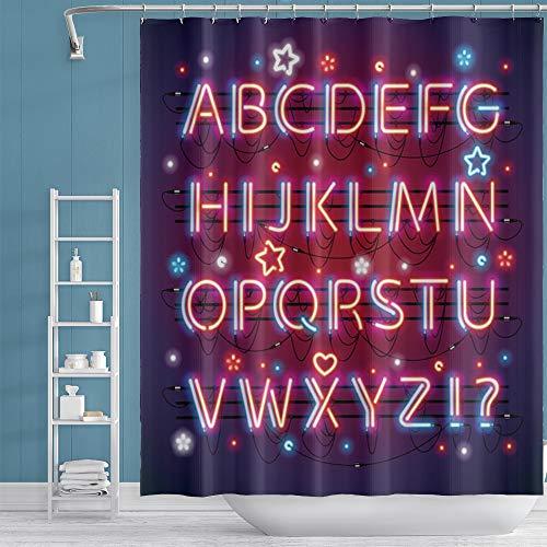 Qinunipoto Alphabets Duschvorhang ABCs Duschvorhang Neon Lichter Badezimmer Vorhang rot & schwarz abstrakter Druck Kunst für Kinder Jungen Mädchen Badezimmer Badewannen Home Decor 152,4 x 182,9 cm