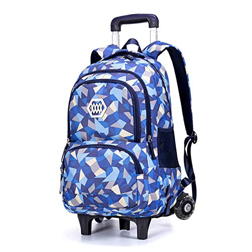 ZXHFDC 19-inch Student Waterproof Spine Protection Rolling Backpack, Travel Wheeled Laptop Women's Backpack, Carry-on Trolley Suitcase Business Bag, Suitable For 17.3-inch Laptop(Color: Blue 2 Rounds,