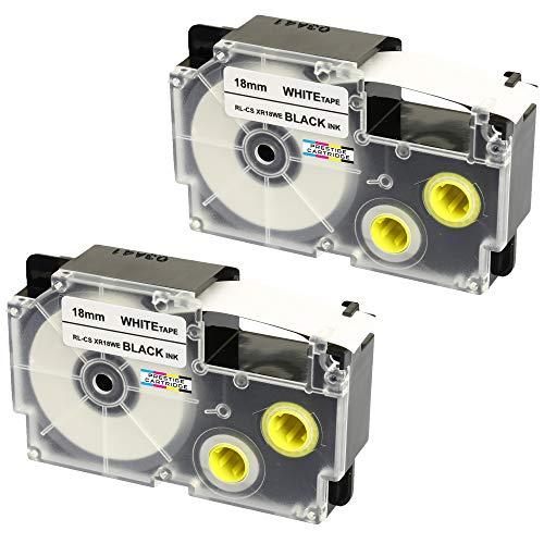 2x Nastro per Etichette compatibile per Casio XR-18WE XR-18WE1 Nero su Bianco 18mm x 8m per Etichettatrice CasioKL-60 100 100E 120 200 300 750 780 820 2000 7000 7200 7400 8100 8200 P1000 C500 CW-L300