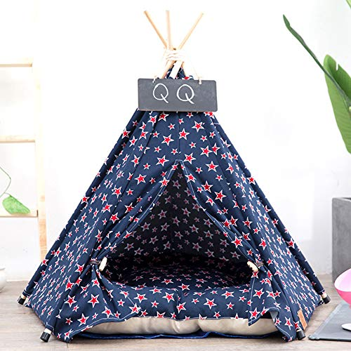 MeterMall Home For Nest Warm Canvas Tent with Sleeping Cushion for Winter Pet Cats Dogs Supplies Navy blue five stars (including mats) S