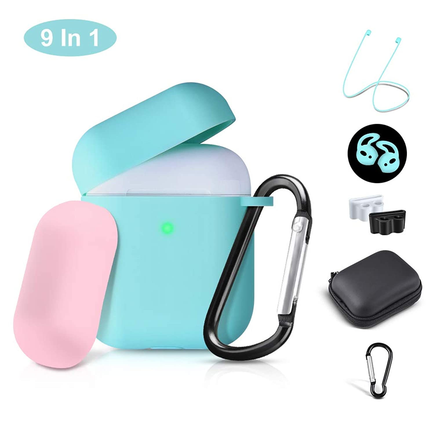 Airpods Case Cover, 2019 Airpod 2 Silicone Case Full Protective Cover Skin 9 in 1 Airpods Accessories for Apple Airpods 2 & 1 Wireless Charging Case, RTAKO Green Airpods Cover(Front LED Visible)