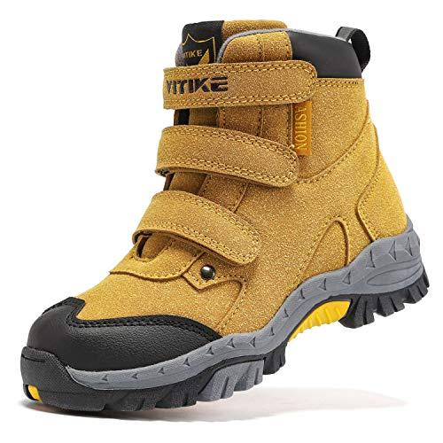 WETIKE BootsforBoysSize 2.5 Little GirlsHikingBootsHookLoopSlip-onKidsSnowBootsKeepWarmBoysWinterBootsAnti-SlipSteelBuckleGirlsBootsforKidsWalkingShoesYellow
