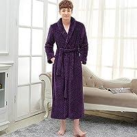 メンズウィンターエクストラロングシックワッフルフランネルウォームバスローブ、プラスサイズ男性ジッパーバスローブメンズパジャマ、女性用ドレッシングガウン、女性ジッパーパープル、M