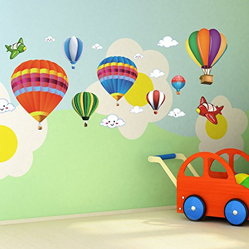 Amaonm Removable Creative 3D Hot Air Balloon Aircraft And Smile Clouds Wall  Decals Kids Room Wall