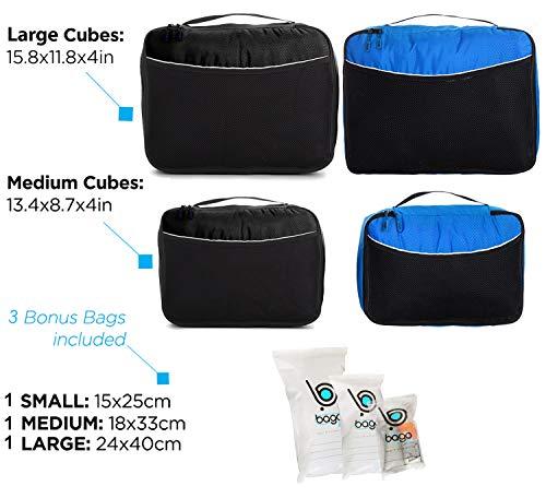 Bago Packing Cubes for Travel - Bagagli e organizer per valigie - Set di cubi (Black, BlueTale)