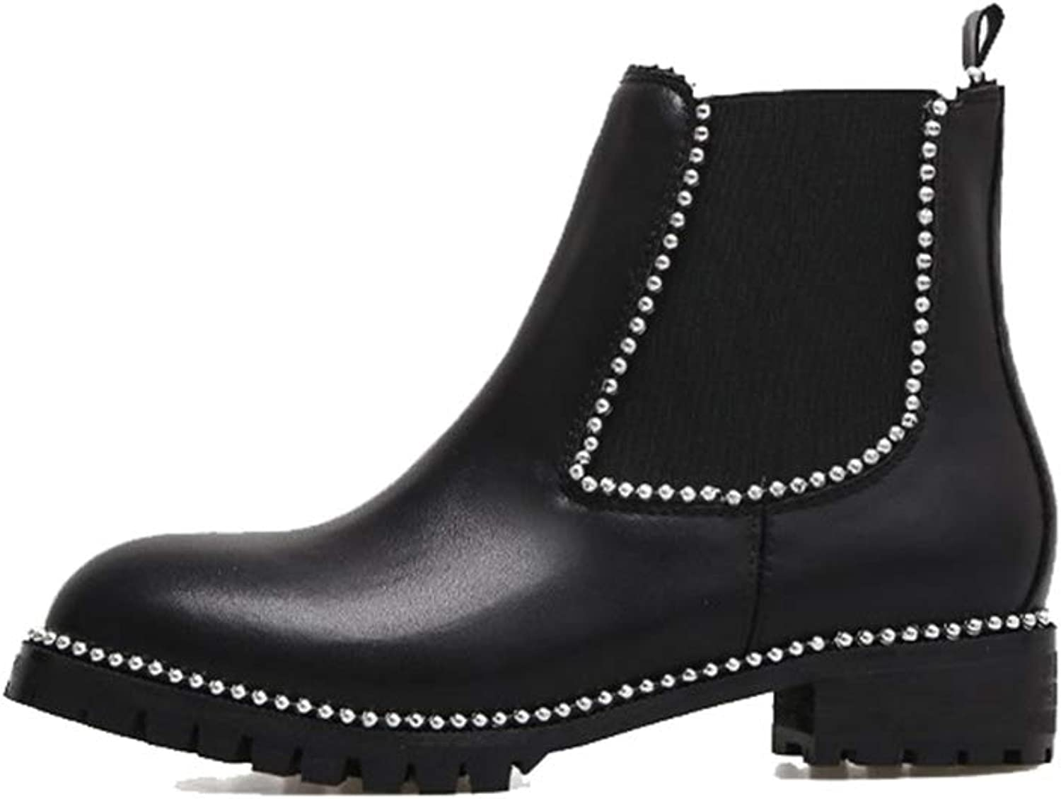 Super color Women's Comfortable Slip on Leather Ankle Chelsea Boots with Pearl for Elegant and Beautiful
