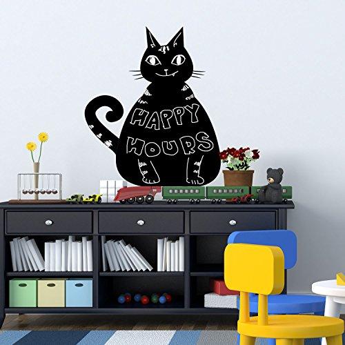Walplus 00-WGFI-I2EU - Pegatina tipo pizarra, diseño gato, 26 x 58 cm, PVC, extraíble, color negro
