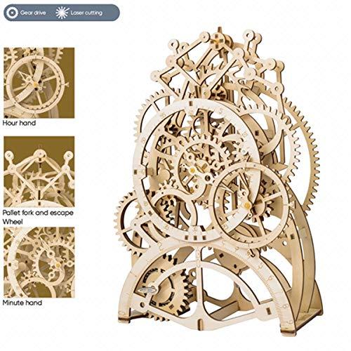 ROBOTIME 3D Holz Puzzle Laser-Cut - Gebäude Uhr Baukasten - mechanische Modellbau Geschenk für Freund oder Ehemann am Geburtstag / Jahrestag / Valentinstag / Weihnachten (Pendeluhr)