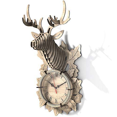 FunColl 3D Holzpuzzle Rentier Wanduhr, 3D Puzzle Uhr DIY Baukasten, 3D Holzpuzzle Home Decor Ornament (Buchenholz, Rentier)