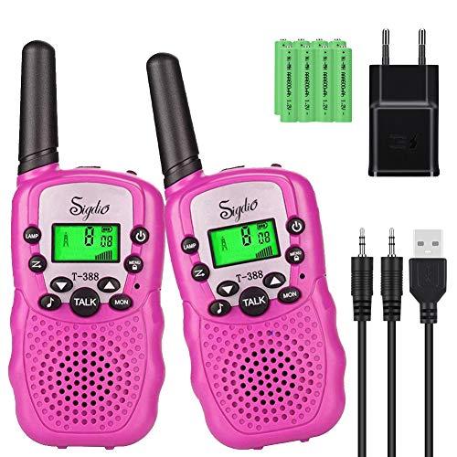 Sigdio T-388 Walkie Talkies Niños PMR446 con 8 Piezas Baterías Recargable y Cargador 8 Canales Función VOX LCD Pantalla 10 Tonos Linterna Incorporado Walky Talky (Rosa)