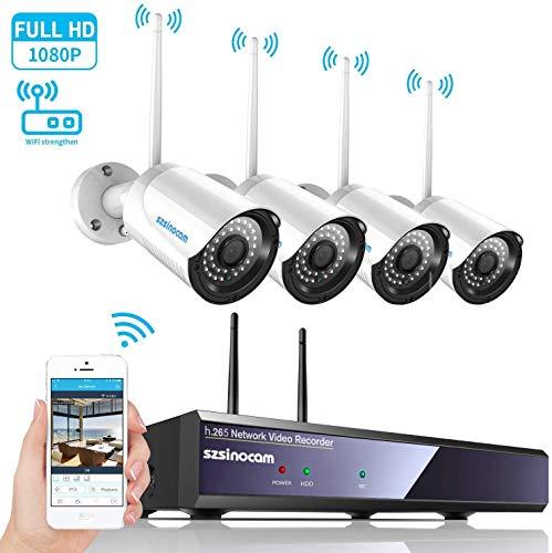 SZSINOCAM Kit de Cámaras Seguridad WiFi Vigilancia Inalámbrica Sistema 4CH 1080P on Visión Nocturna, Detección De Movimiento, Alarma por Correo Electrónico, Impermeable, 4 Videocámaras para Exteriores