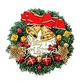 Lyugym クリスマスリース クリスマス飾り 玄関リース ドア 窓 オーナメント インテリアの飾り レッド クリスマスベル 華やか 可愛い クリスマス デコレーション おしゃれ クリスマス飾り付け 北欧風 高級風 壁飾り (ギフトボックスのスタイル)