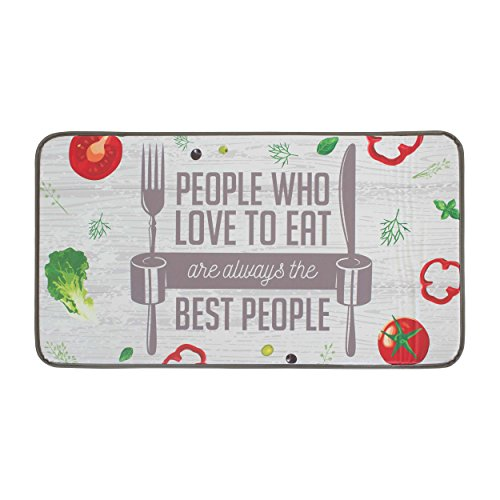 "Chef Gear Anti-Fatigue Faux-Leather 20"" x 36"" The Best People Kitchen Mat"