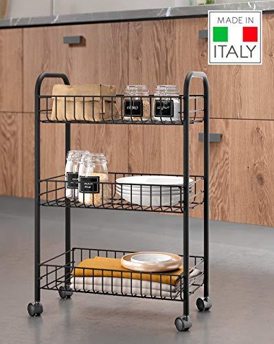 Metaltex Carrello da Cucina, Nero, 3 Piani