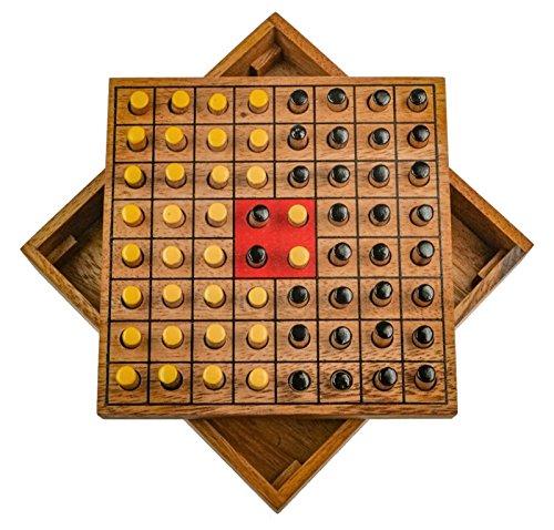 LOGOPLAY Wende den Stein - Erobere den Stein - Strategiespiel - Denkspiel - Brettspiel aus Holz für 2 Spieler