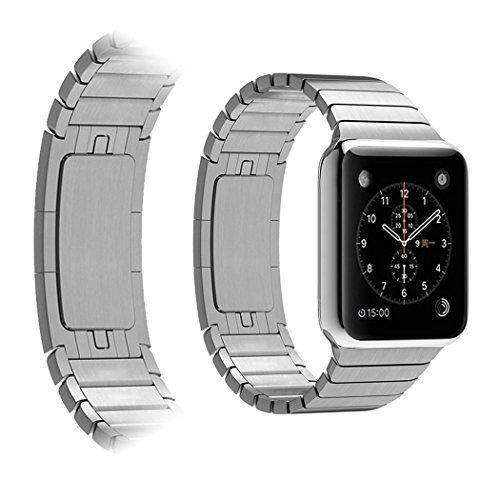 Hotgo Versione Premium Cinturino Apple Watch, Arc Bordo Fibbia Apple Watch Band Cinturino Orologio in Acciaio Inossidabile Sostituzione Cinghia di Polso Fibbia di Metallo per Apple Watch Smartwatch (38mm, Acciaio Bianco)
