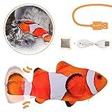 Charminer Katzenspielzeug Elektrische Fische, Katze Interaktive Spielzeug Orange ,USB Elektrische Plüsch Fisch Spielzeug Fisch mit Katzenminze für Katze zu Spielen, Beißen, Kauen