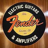 QNNN Fender Guitarra Alfombra Redonda Alfombras de Piso de Roca Alfombra de área Impresa de Franela Almohadilla de Aislamiento acústico para Sala de música Dormitorio Decoración para el hogar-UNA_120