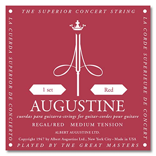 Augustine Klassik Gitarrensaiten Regals Label Satz Red Extra High Tension/Bassaiten Medium Tension