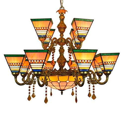 Yjmgrowing Vintage Tiffany Stijl Gelakt Glas 12 Armen Kroonluchter met 16inch Omgekeerde Plafond Hanger Lamp voor Villa Woonkamer Slaapkamer Art Lighting, 110-240V, E27, 40 W