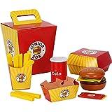 advancethy Holz-Fast-Food-Spielzeug-Set für Kinder, Burger Pommes Frites Essen Spielset