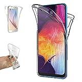 REY - Funda Carcasa Gel Transparente Doble 360º para Samsung Galaxy A50 - A50s - A30s, Ultra Fina 0,33mm, Silicona TPU de Alta Resistencia y Flexibilidad